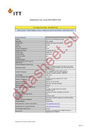 MS3106E20-15SZ datasheet скачать даташит